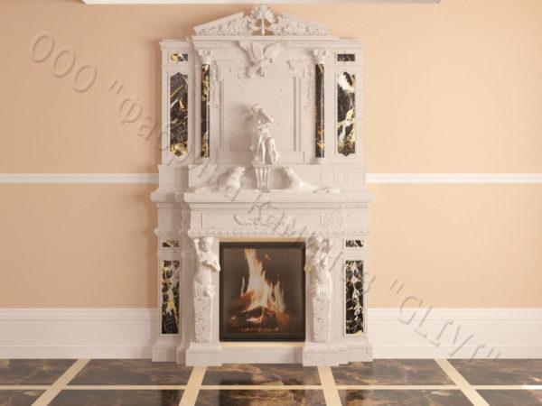 Мраморный каминный портал (облицовка) Гетсия, каталог (интернет-магазин) каминов из мрамора, изображение, фото 12