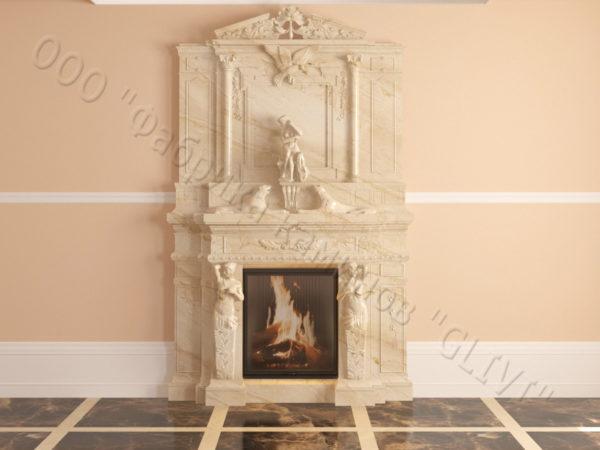 Мраморный каминный портал (облицовка) Гетсия, каталог (интернет-магазин) каминов из мрамора, изображение, фото 13