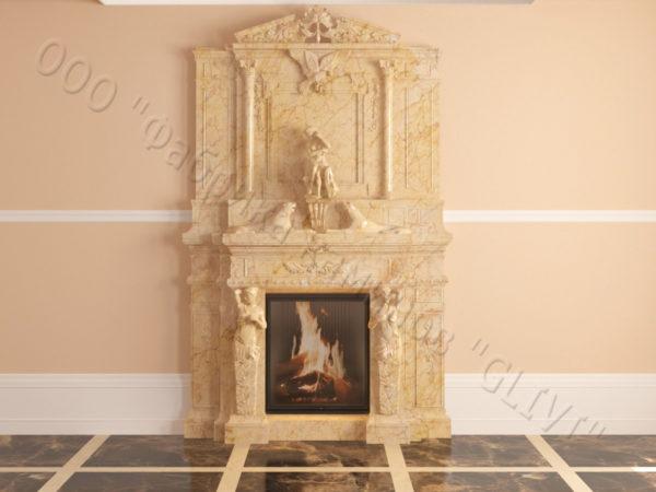 Мраморный каминный портал (облицовка) Гетсия, каталог (интернет-магазин) каминов из мрамора, изображение, фото 15