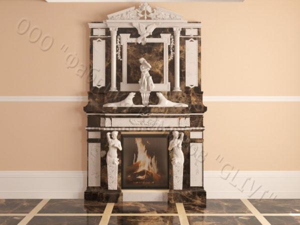 Мраморный каминный портал (облицовка) Гетсия, каталог (интернет-магазин) каминов из мрамора, изображение, фото 16