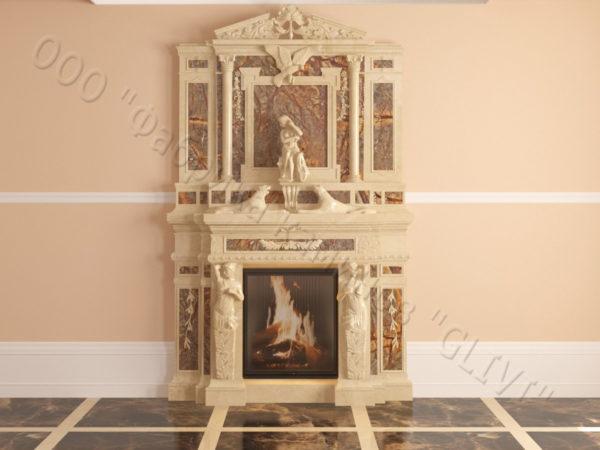 Мраморный каминный портал (облицовка) Гетсия, каталог (интернет-магазин) каминов из мрамора, изображение, фото 17