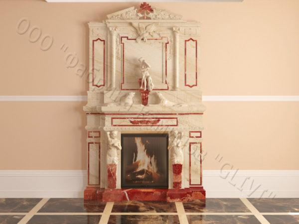 Мраморный каминный портал (облицовка) Гетсия, каталог (интернет-магазин) каминов из мрамора, изображение, фото 18