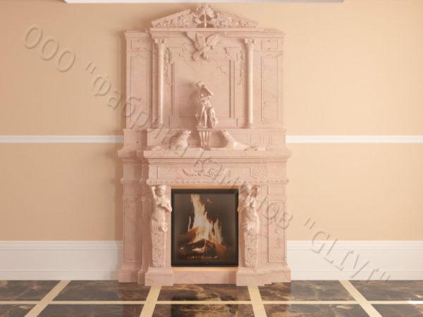 Мраморный каминный портал (облицовка) Гетсия, каталог (интернет-магазин) каминов из мрамора, изображение, фото 19
