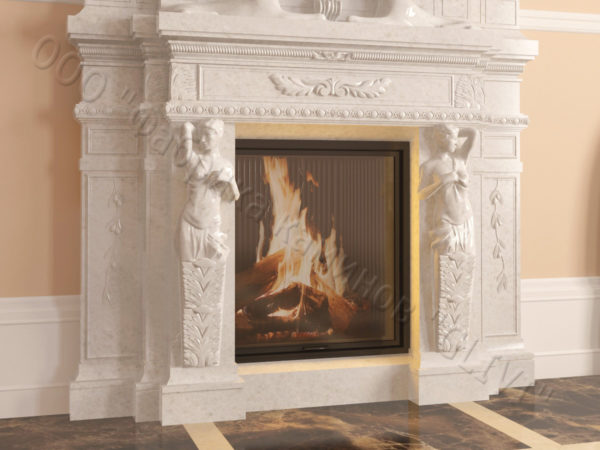 Мраморный каминный портал (облицовка) Гетсия, каталог (интернет-магазин) каминов из мрамора, изображение, фото 2