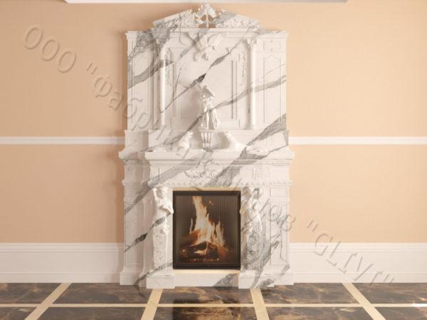 Мраморный каминный портал (облицовка) Гетсия, каталог (интернет-магазин) каминов из мрамора, изображение, фото 20
