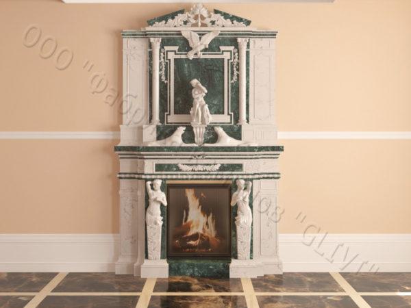 Мраморный каминный портал (облицовка) Гетсия, каталог (интернет-магазин) каминов из мрамора, изображение, фото 21