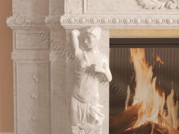 Мраморный каминный портал (облицовка) Гетсия, каталог (интернет-магазин) каминов из мрамора, изображение, фото 4