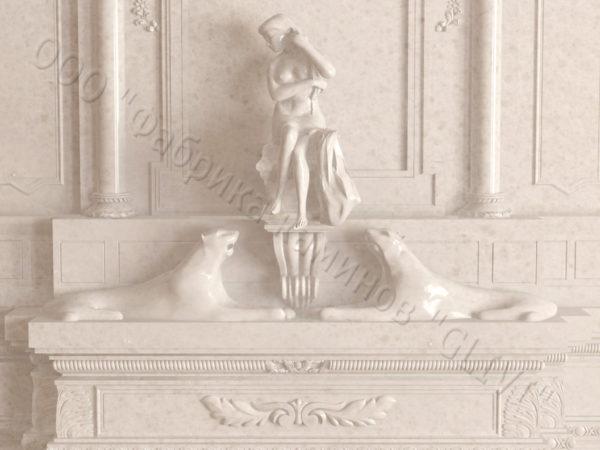 Мраморный каминный портал (облицовка) Гетсия, каталог (интернет-магазин) каминов из мрамора, изображение, фото 6