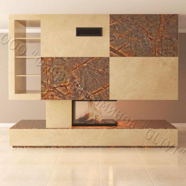 Мраморный камин с открытой топкой Глория, каталог (интернет-магазин) каминов из мрамора, изображение, фото 4