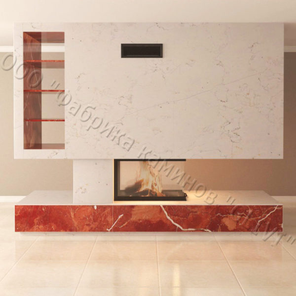 Мраморный камин с открытой топкой Глория, каталог (интернет-магазин) каминов из мрамора, изображение, фото 5