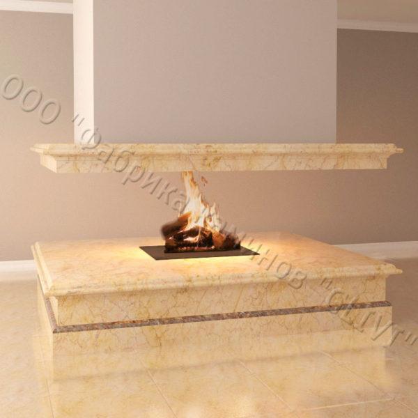 Мраморный камин с открытой топкой Индиго, каталог (интернет-магазин) каминов из мрамора, изображение, фото 6