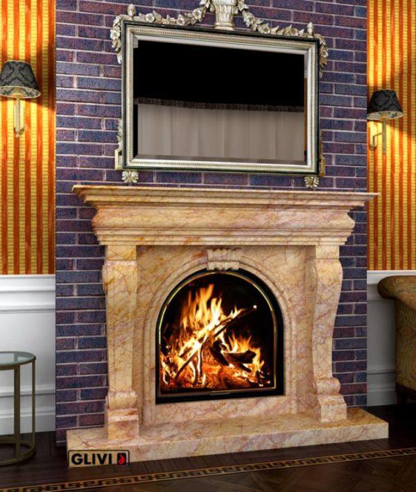 Мраморный каминный портал (облицовка) Ливерпуль, каталог (интернет-магазин) каминов из мрамора, изображение, фото 1