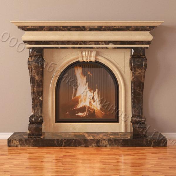 Мраморный каминный портал (облицовка) Ливерпуль, каталог (интернет-магазин) каминов из мрамора, изображение, фото 2