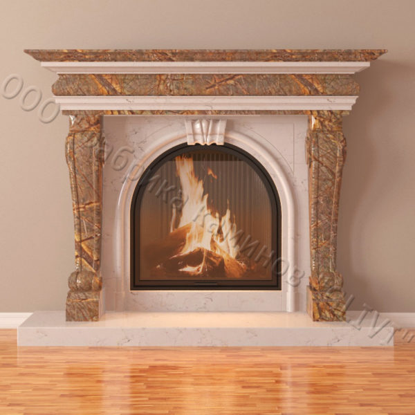 Мраморный каминный портал (облицовка) Ливерпуль, каталог (интернет-магазин) каминов из мрамора, изображение, фото 4