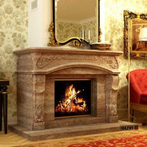 Мраморный каминный портал (облицовка) Людовик, каталог (интернет-магазин) каминов из мрамора, изображение, фото 1