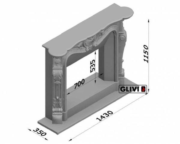 Мраморный каминный портал (облицовка) Магдебург, каталог (интернет-магазин) каминов из мрамора, изображение, фото 7