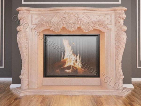 Мраморный каминный портал (облицовка) Роуз, каталог (интернет-магазин) каминов из мрамора, изображение, фото 15