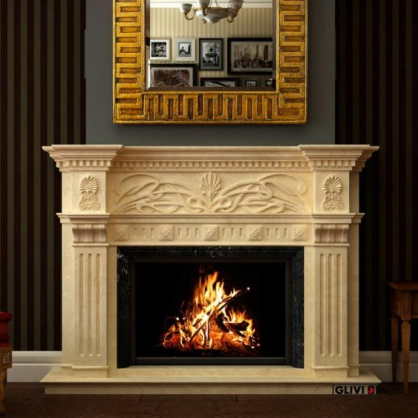 Мраморный каминный портал (облицовка) Севилья, каталог (интернет-магазин) каминов из мрамора, изображение, фото 1