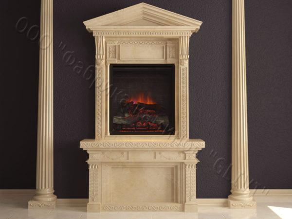 Мраморный каминный портал (облицовка) Веста, каталог (интернет-магазин) каминов из мрамора, изображение, фото 1