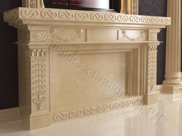 Мраморный каминный портал (облицовка) Веста, каталог (интернет-магазин) каминов из мрамора, изображение, фото 2