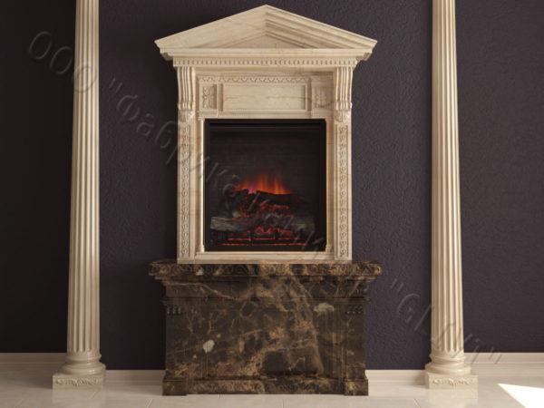 Мраморный каминный портал (облицовка) Веста, каталог (интернет-магазин) каминов из мрамора, изображение, фото 5