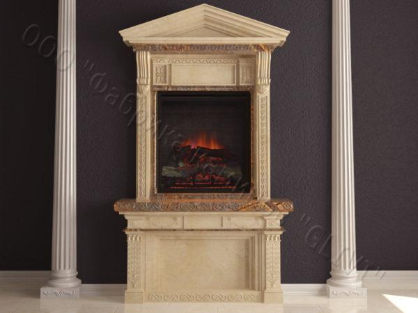 Мраморный каминный портал (облицовка) Веста, каталог (интернет-магазин) каминов из мрамора, изображение, фото 8
