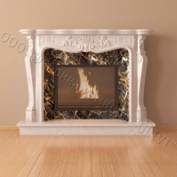 Мраморный каминный портал (облицовка) Женева, каталог (интернет-магазин) каминов из мрамора, изображение, фото 2