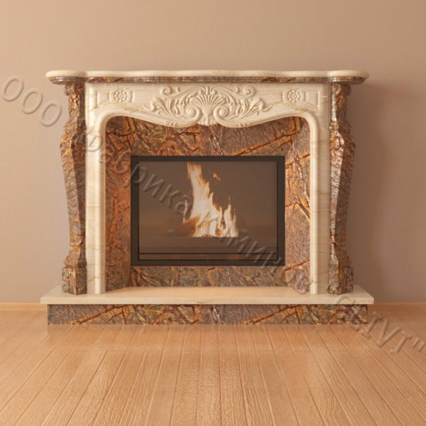 Мраморный каминный портал (облицовка) Женева, каталог (интернет-магазин) каминов из мрамора, изображение, фото 4