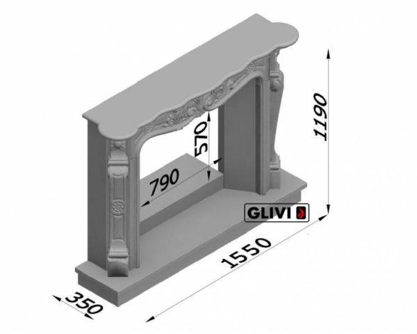 Мраморный каминный портал (облицовка) Женева, каталог (интернет-магазин) каминов из мрамора, изображение, фото 7