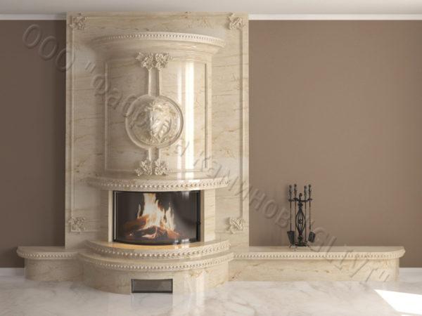 Мраморный каминный портал (облицовка) Лион, каталог (интернет-магазин) каминов из мрамора, изображение, фото 1