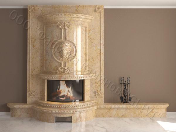 Мраморный каминный портал (облицовка) Лион, каталог (интернет-магазин) каминов из мрамора, изображение, фото 11