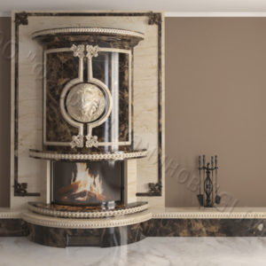 Мраморный каминный портал (облицовка) Лион, каталог (интернет-магазин) каминов из мрамора, изображение, фото 12