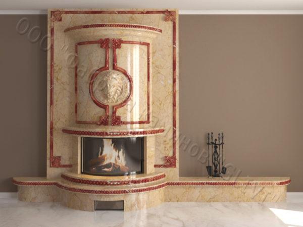 Мраморный каминный портал (облицовка) Лион, каталог (интернет-магазин) каминов из мрамора, изображение, фото 14