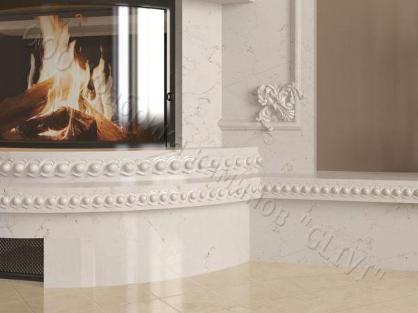 Мраморный каминный портал (облицовка) Лион, каталог (интернет-магазин) каминов из мрамора, изображение, фото 6