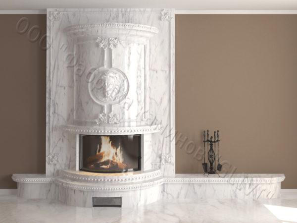 Мраморный каминный портал (облицовка) Лион, каталог (интернет-магазин) каминов из мрамора, изображение, фото 7