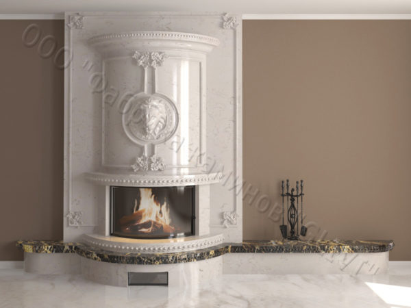 Мраморный каминный портал (облицовка) Лион, каталог (интернет-магазин) каминов из мрамора, изображение, фото 9