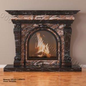 Мраморный каминный портал (облицовка) Ливерпуль мадера, каталог (интернет-магазин) каминов из мрамора, изображение, фото 1