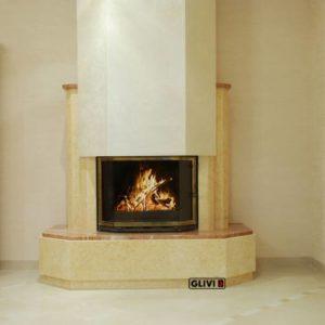 Мраморный каминный портал (облицовка) Малибу, каталог (интернет-магазин) каминов из мрамора, изображение, фото 1