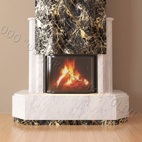 Мраморный каминный портал (облицовка) Малибу, каталог (интернет-магазин) каминов из мрамора, изображение, фото 2