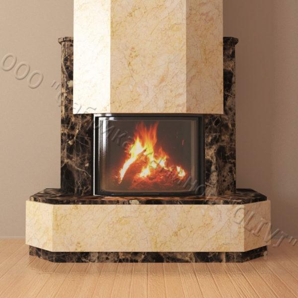 Мраморный каминный портал (облицовка) Малибу, каталог (интернет-магазин) каминов из мрамора, изображение, фото 3