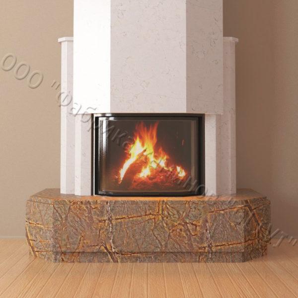 Мраморный каминный портал (облицовка) Малибу, каталог (интернет-магазин) каминов из мрамора, изображение, фото 4