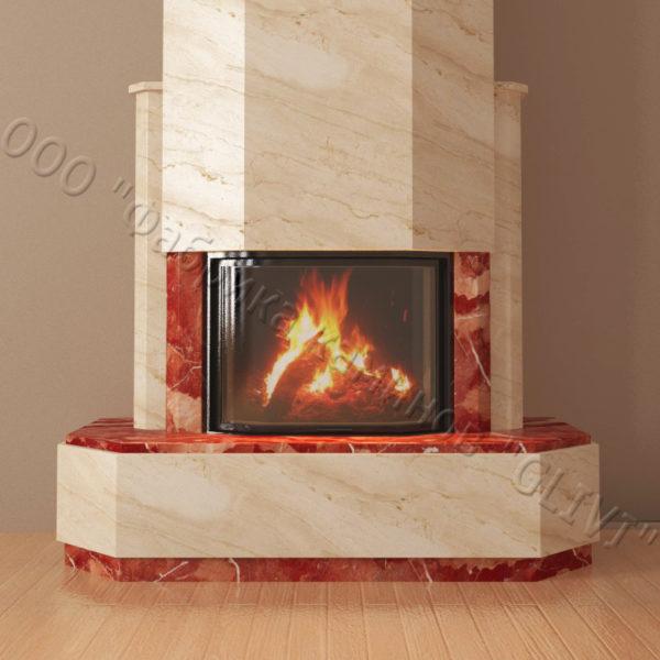 Мраморный каминный портал (облицовка) Малибу, каталог (интернет-магазин) каминов из мрамора, изображение, фото 5