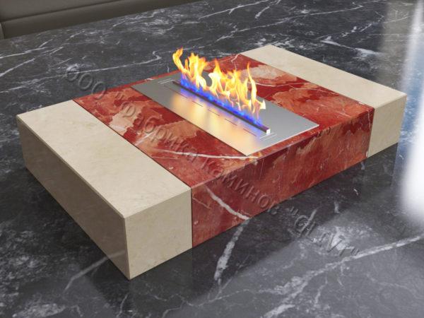 Мраморная облицовка (каминный портал) для камина на биотопливе Тапси, каталог (интернет-магазин) каминов из мрамора, изображение, фото 1