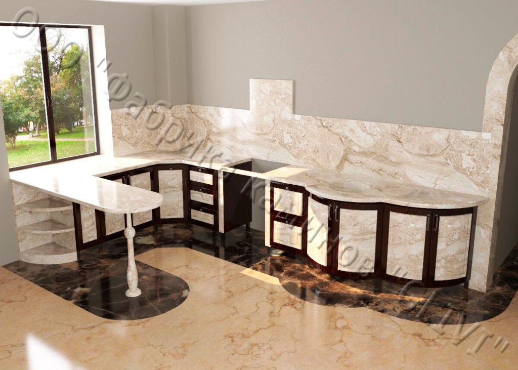 Долговечные кухонные интерьеры из камня
