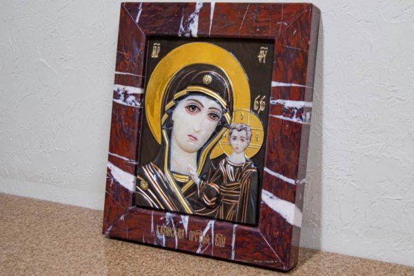 Икона Казанской Богоматери № 3_12-1 (резная) из мрамора от Гливи, фото 1