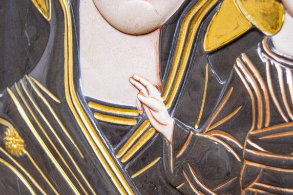 Икона Казанской Богоматери № 3/12-5 (резная) из мрамора от Гливи, фото 6
