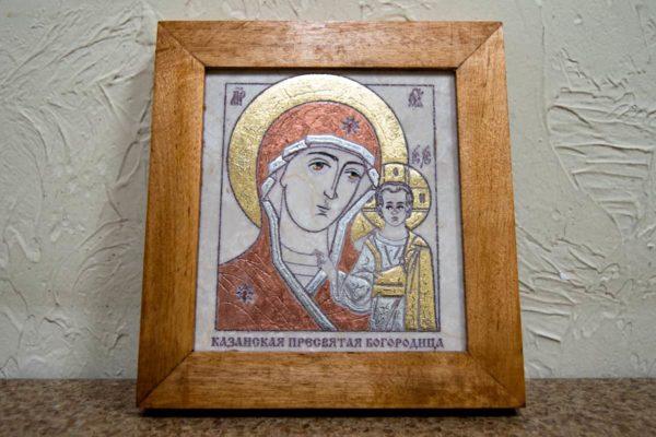 Икона Казанской Богоматери № 24, плоскостная гравированная икона, оформленная художественной эмалью или поталью, фото 1