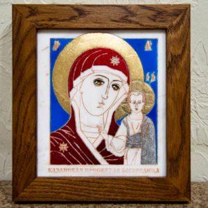 Икона Казанской Богоматери № 21, плоскостная гравированная икона, оформленная художественной эмалью или поталью, фото 1