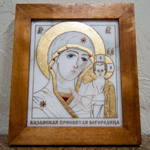 Икона Казанской Богоматери № 11, плоскостная гравированная икона, оформленная художественной эмалью или поталью, фото 1