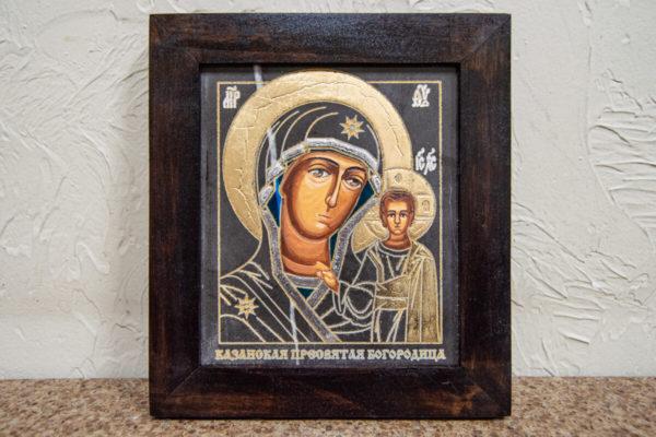 Икона Казанской Богоматери № 7 оформленная художественной эмалью или поталью, фото 1